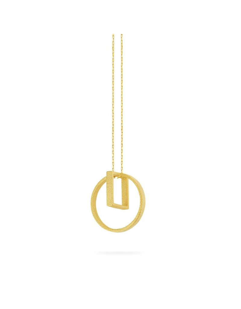 Ola Long gold necklace with circle square pendant