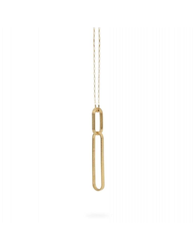 Ola Lange gouden halsketting met twee ovalen