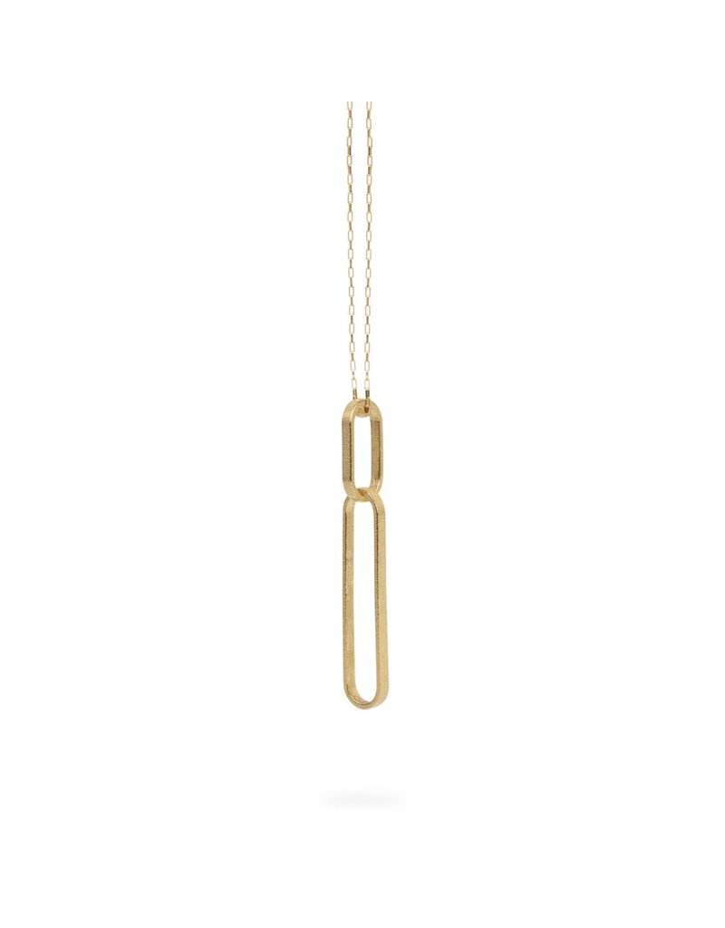 Ola Long gold necklace with two ovals