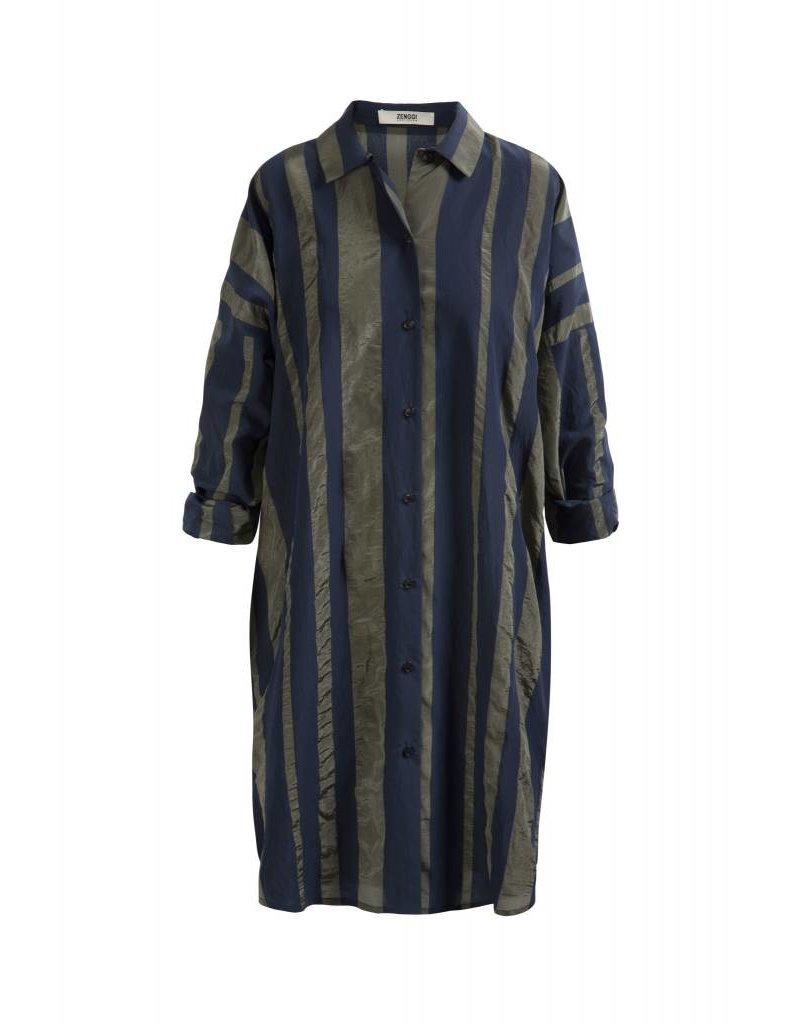 Zenggi Oversized Stripe Shirt Midnight Blue