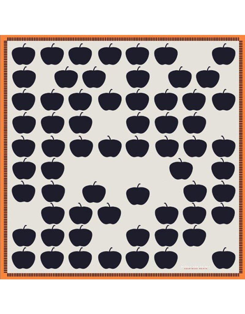 Hellen Van Berkel Vierkanten zijde sjaal met appels beige/grijs