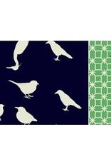 Hellen Van Berkel Sjaal Donkerblauw met Beige Vogels