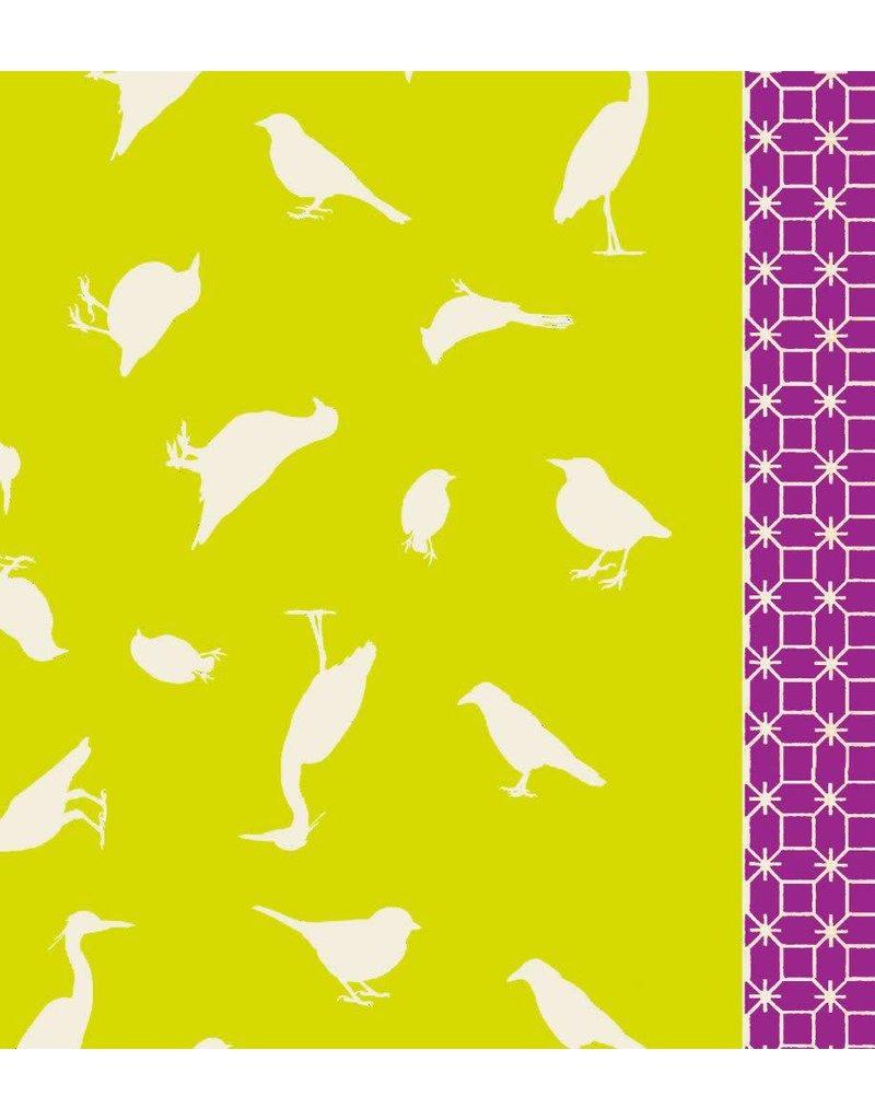 Hellen Van Berkel Scarf bright yellow with beige birds
