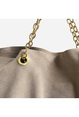 Clinch Handbag Daim with Short Chains Ecru