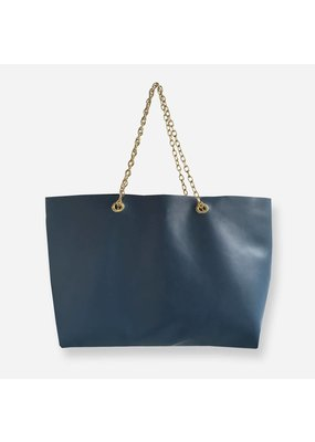 Clinch Leather Handbag with Chains Blue