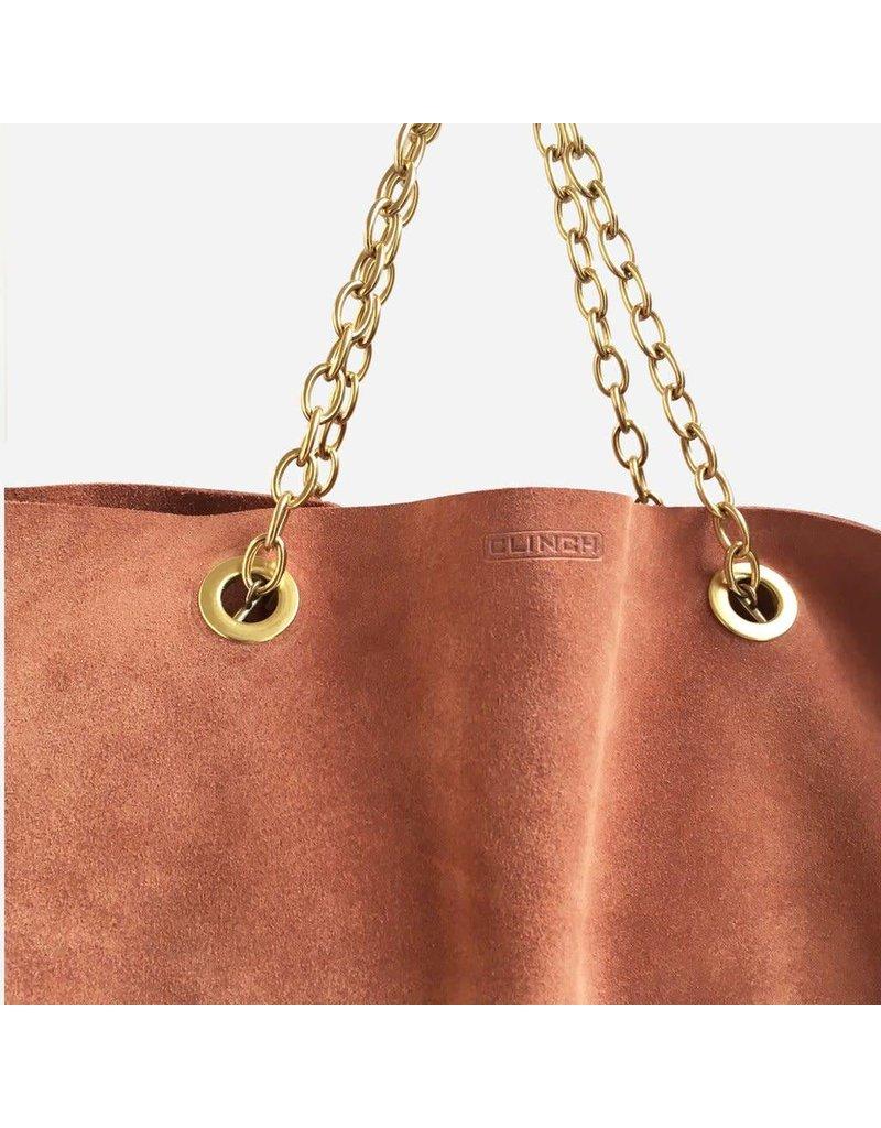 Clinch Handbag in Buckskin with Short Chains Brown
