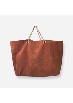 Clinch Handbag in Buckskin with Short Chains Brown