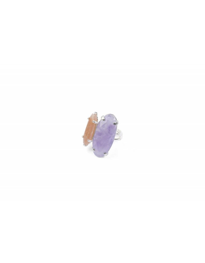 Wouters & Hendrix Statement Ring With Amethyst and Sunstone