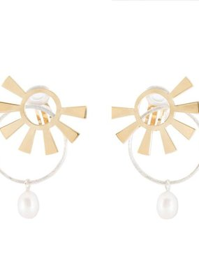 Wouters & Hendrix Wouters & Hendrix Clip Earrings With Sun And Pearl