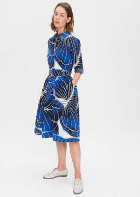 Zenggi Leaf Print Shirt Dress Midnight Blue