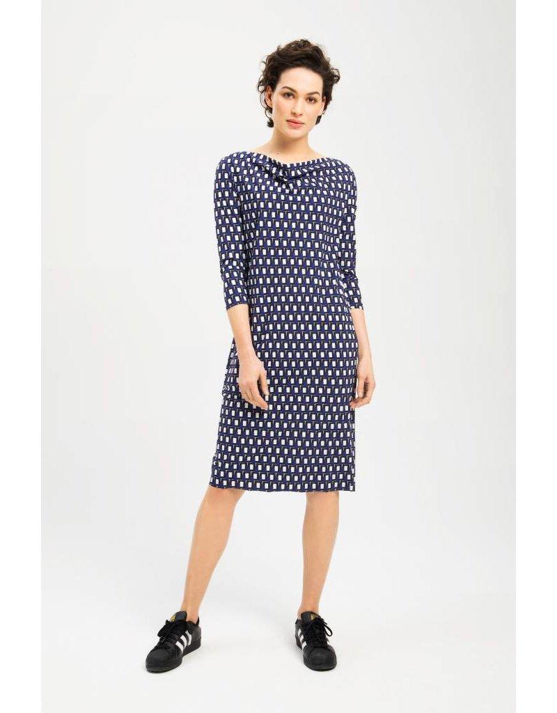 Zenggi Draped Dress Block Print Sapphire