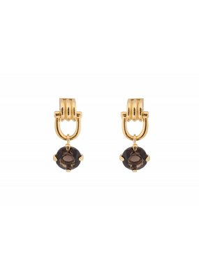 Wouters & Hendrix STUD EARRINGS WIT CLASP AND SMOKY QUARTZ PENDANT