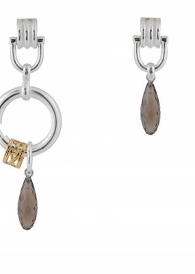 Wouters & Hendrix MIXED EARRINGS WITH SMOKY QUARTZ PENDANT