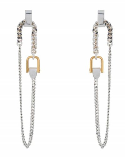 Wouters & Hendrix FINE STUD EARRINGS WITH LONG CHAIN AND BUCKLE