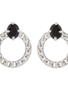 Wouters & Hendrix CIRCLE STUD EARRINGS WITH ONYX STONE