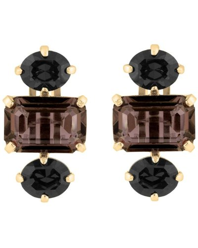 Wouters & Hendrix CLIP EARRINGS WITH SMOKY QUARTZ AND ONYX