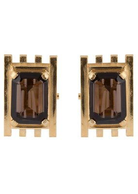 Wouters & Hendrix CLIP EARRINGS WITH SMOKY QUARTZ