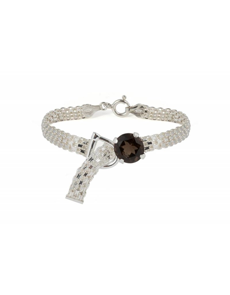 Wouters & Hendrix ELEGANT BRACLET WITH WATCH STRAP, CLASP AND SMOKY QUARTZ