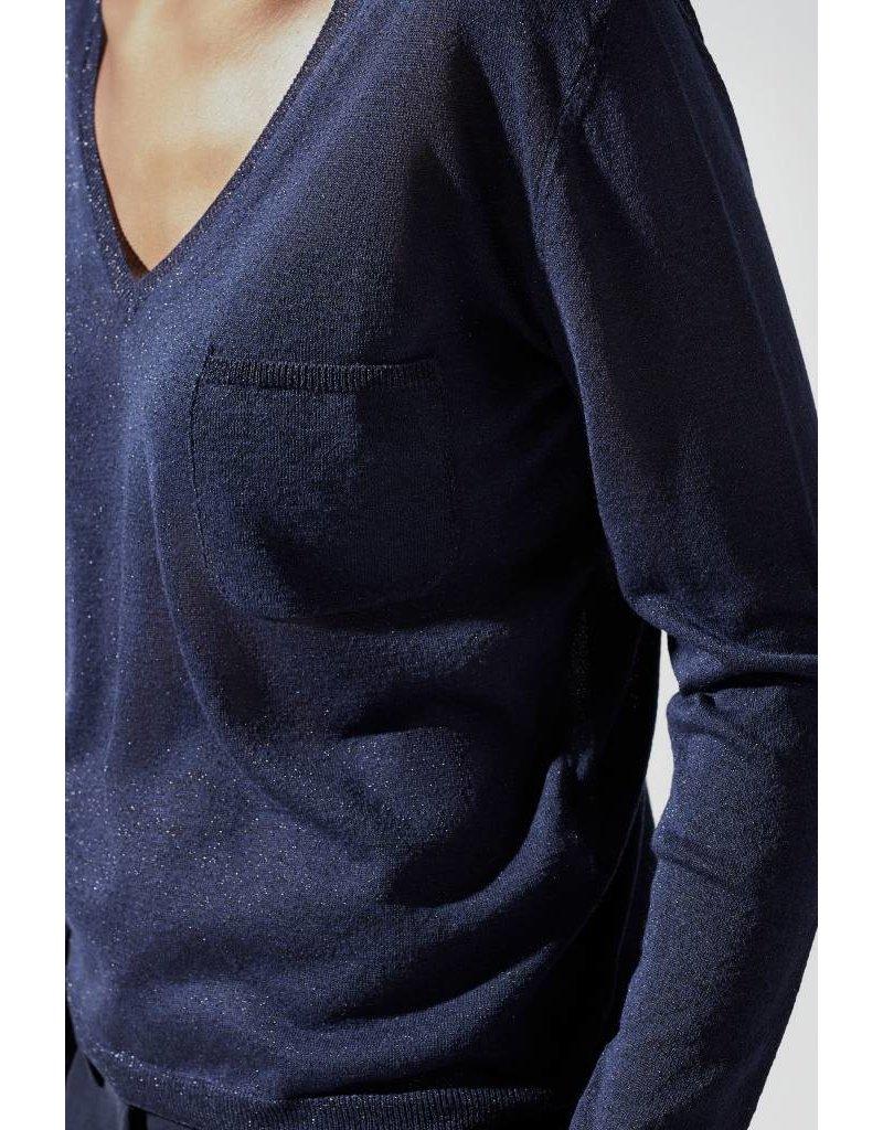 Zenggi SPARKLING V-NECK PULLOVER MIDNIGHT BLUE