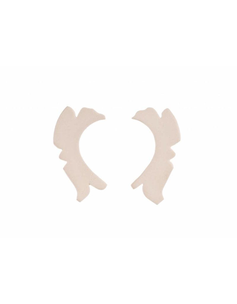 Mme Butterfly Earrings studs irregular long white