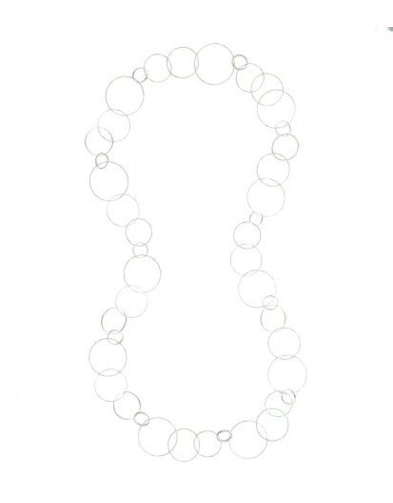 Halsketting lang grote onregelmatige rond schakels zilver