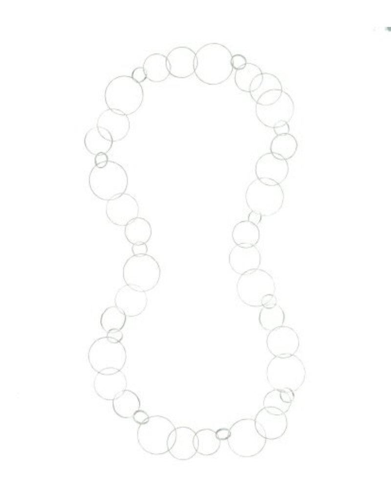 Long necklace, large irregular round links, silver