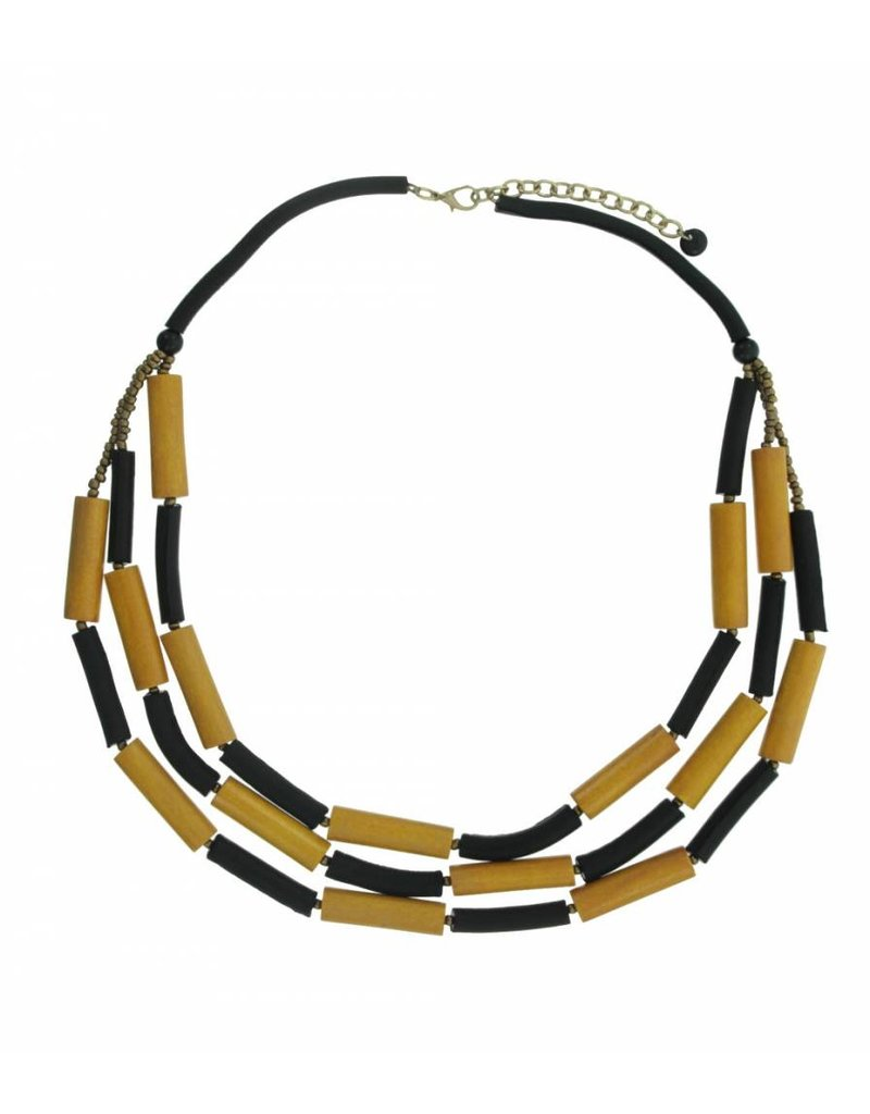 Long Necklace with tubes of wood and leather Black / Yellow