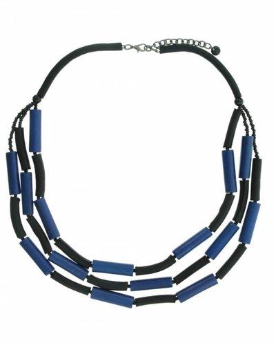 Lange Halsketting met buisjes hout en leder Blauw/Zwart