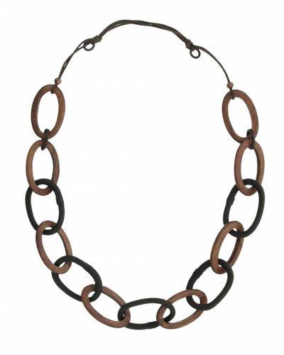 Lange Halsketting met ovalen houten en lederen schakels Bruin