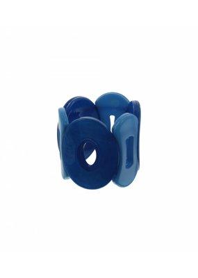 Armband cuff met elastiek blauwe schakels