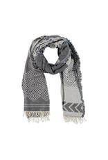 Scarf gray / light blue with pattern