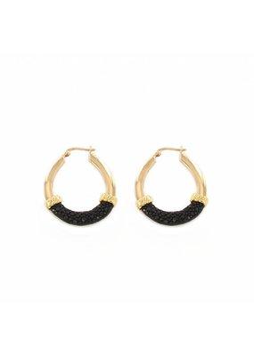 Barong Barong Oorbellen ringen goud met rogge zwart