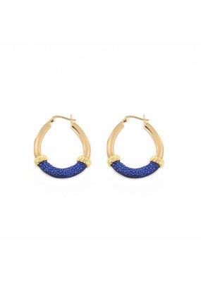 Barong Barong Earrings gold with stingray skin Blue