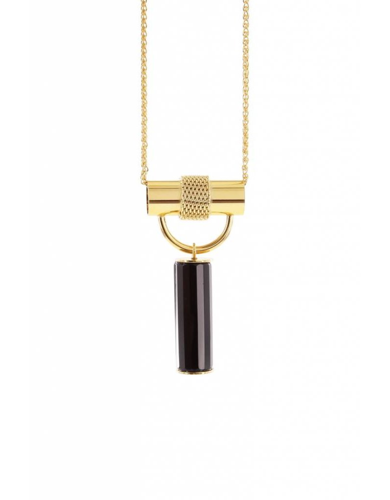 Studio Collect Long statement necklace with agate