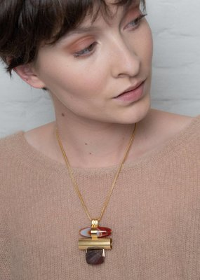 Studio Collect Statement necklace with agate and jasper