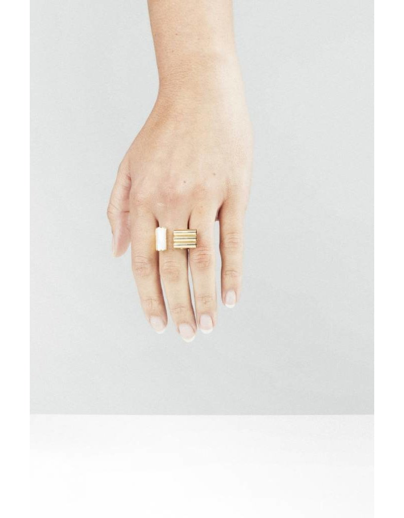 Studio Collect Statement ring with mother of pearl