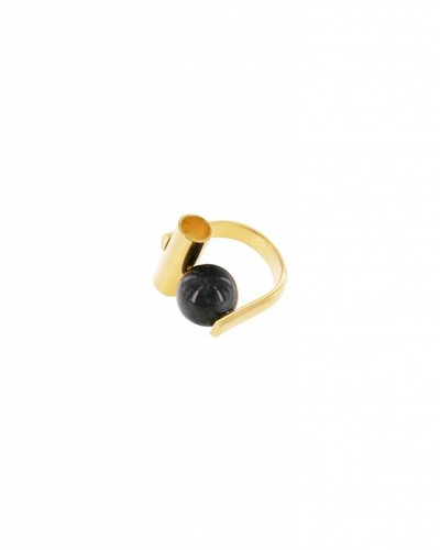 Studio Collect u shaped ring with tube and agate