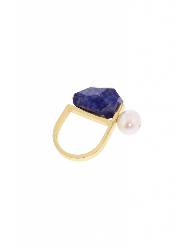 Studio Collect Statement ring with pearl & lapis lazuli