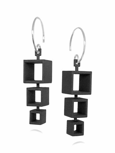Ola Cube Earring 3 Black