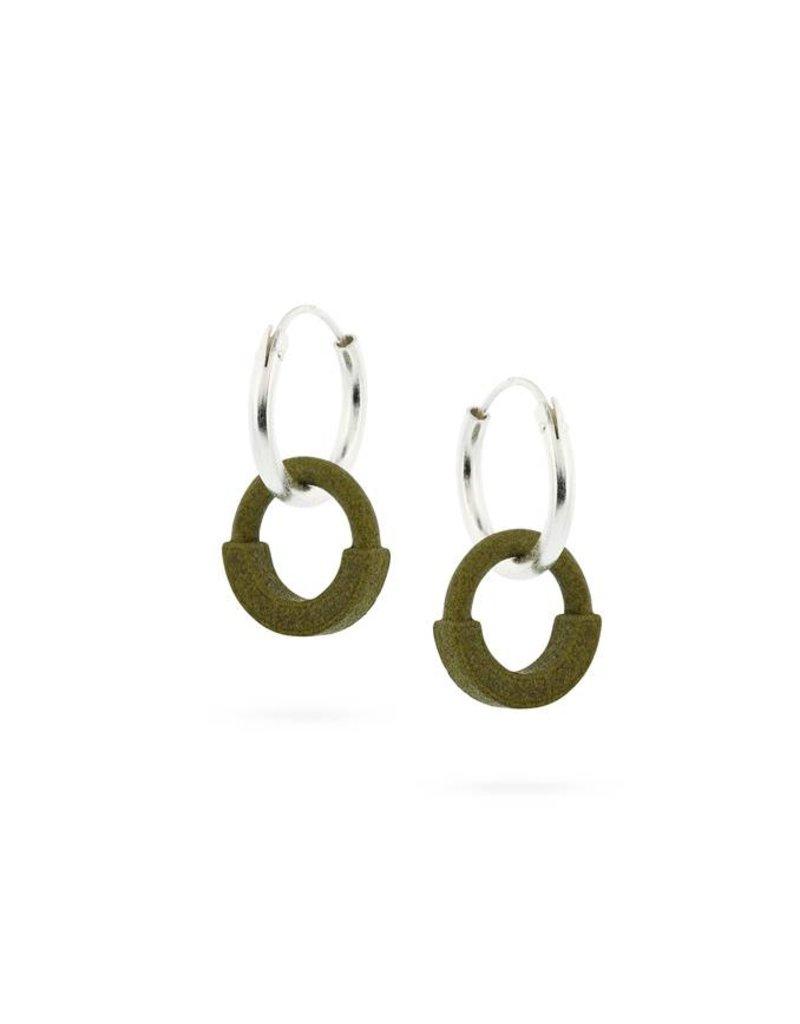 Ola Earrings pendants Contrast Earring I Olive