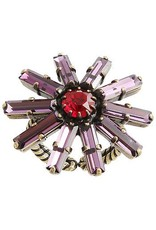 Konplott Ring Daisy red/lila antique brass