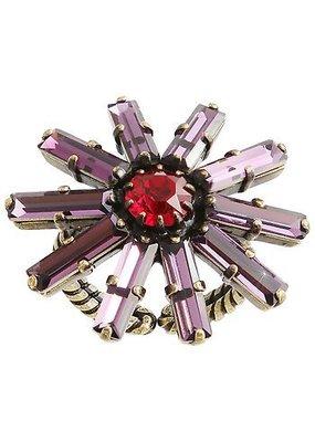 Konplott Ring Daisy red/lila antique brass