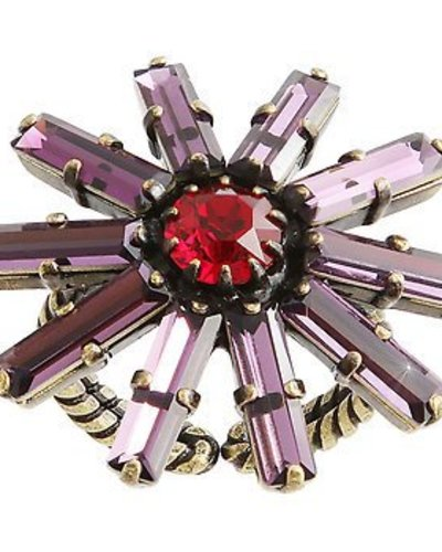 Konplott Ring Spider Daisy red/lila