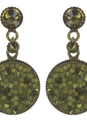 Konplott Earring stud dangling Studio 54 green size XS antique