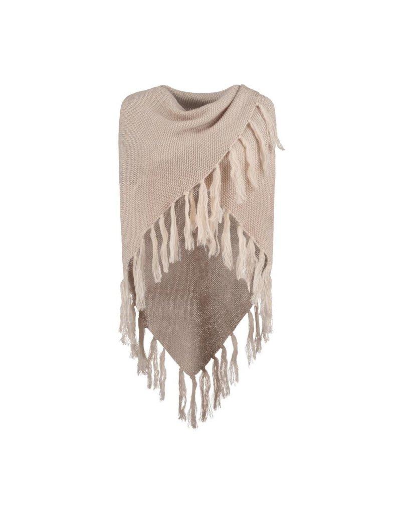 Sjaal Driehoek gebreid beige met glitter
