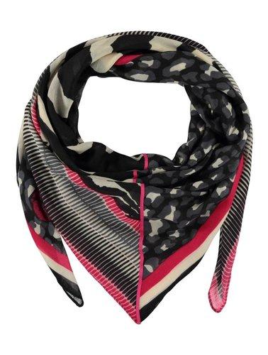 Sjaal vierkant zwart/roze motief