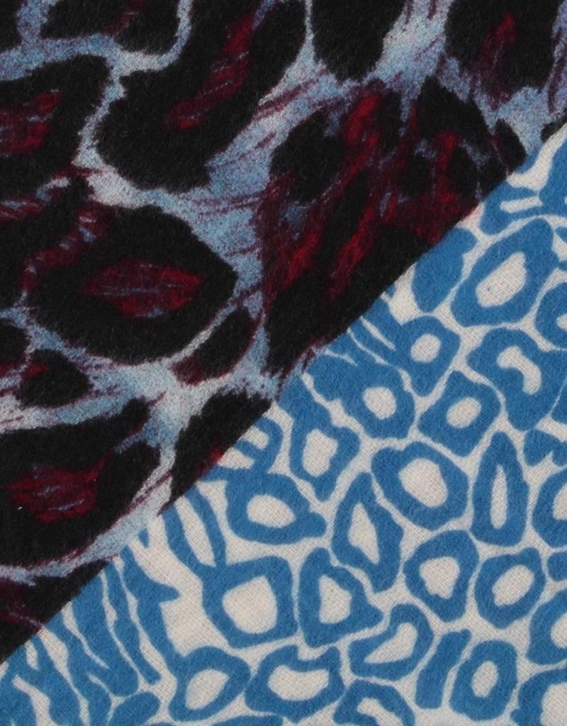 Sjaal driehoek blauw/rood Pantermotief