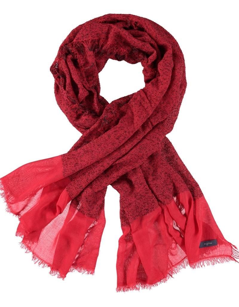 Sjaal rood/zwart gespikkeld