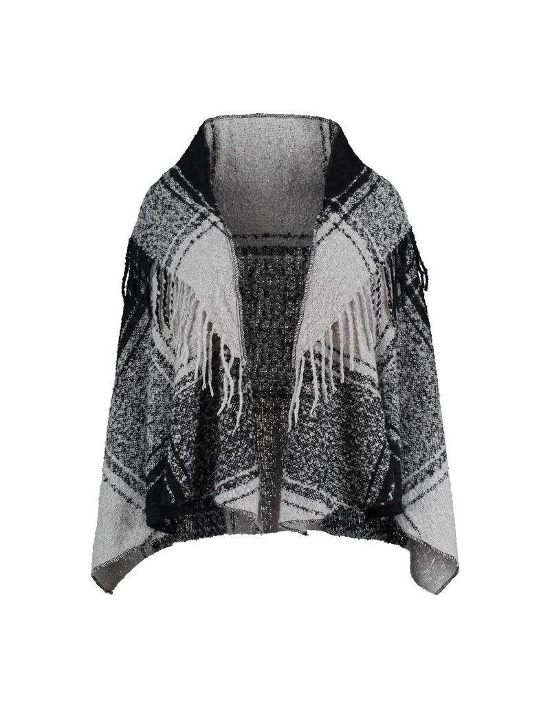 Cape thick soft fabric black and gray motif