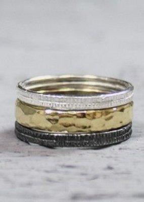 Jéh Jewels Ring 3 Ringen Zilver/verguld/zwart